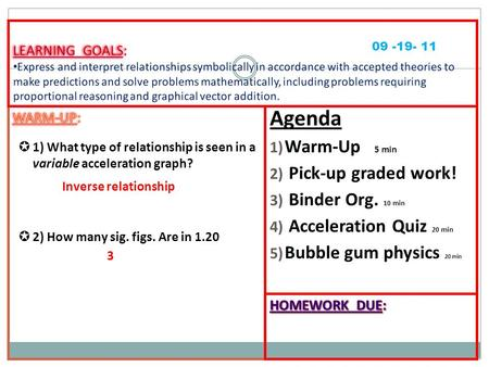 Agenda 1) Warm-Up 5 min 2) Pick-up graded work! 3) Binder Org. 10 min 4) Acceleration Quiz 20 min 5) Bubble gum physics 20 min 09 -19- 11 Inverse relationship.