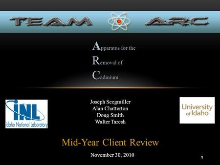 Mid-Year Client Review November 30, 2010 Joseph Seegmiller Alan Chatterton Doug Smith Walter Taresh A pparatus for the R emoval of C admium 1.