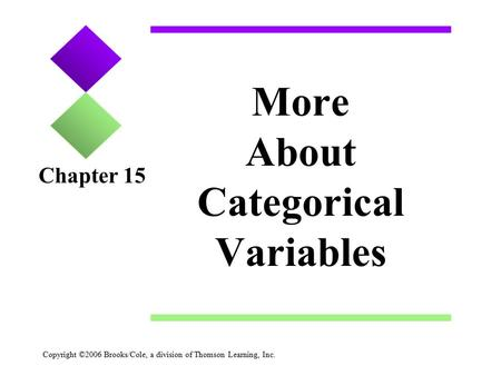 Copyright ©2006 Brooks/Cole, a division of Thomson Learning, Inc. More About Categorical Variables Chapter 15.