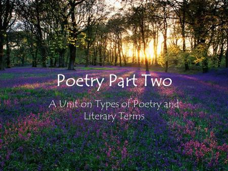 Poetry Part Two A Unit on Types of Poetry and Literary Terms.