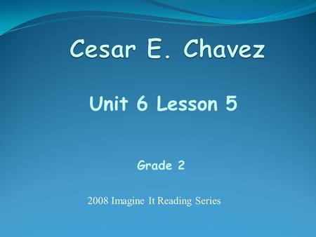 Unit 6 Lesson 5 Grade 2 2008 Imagine It Reading Series.