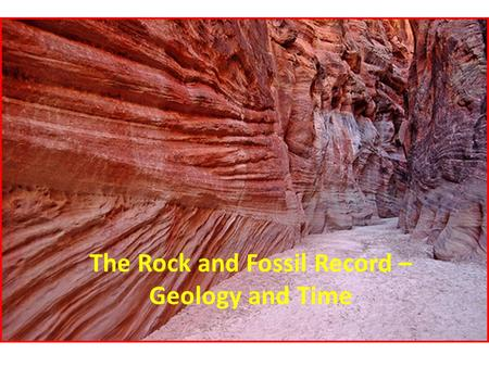 The Rock and Fossil Record – Geology and Time. Earth's Story Catastrophism (#2) – belief that all geologic change happens suddenly. Rare Mountains, canyons,