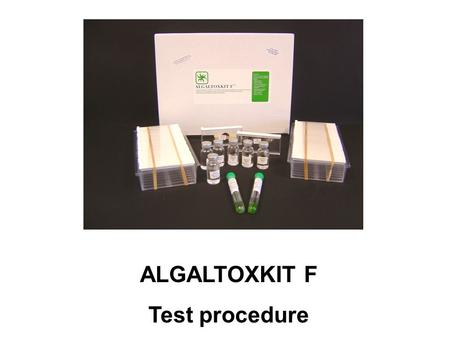 ALGALTOXKIT F Test procedure. 1 PREPARATION OF ALGAL CULTURING MEDIUM - VOLUMETRIC FLASK (1 liter) - VIALS WITH NUTRIENT STOCK SOLUTIONS A (2 vials),
