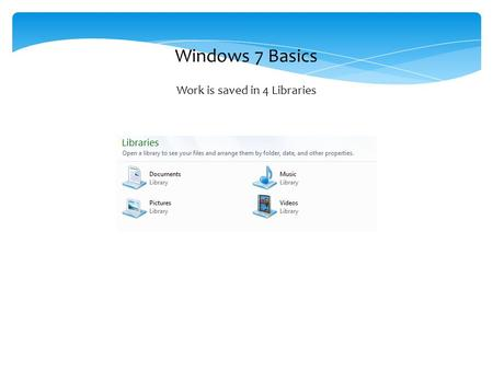 Windows 7 Basics Work is saved in 4 Libraries. Any document can be read in the preview pane without opening the file.