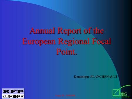 Cairo 30 - 31/08/2002 Annual Report of the European Regional Focal Point. Dominique PLANCHENAULT.