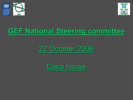 GEF National Steering committee 22 October 2006 Cairo house.