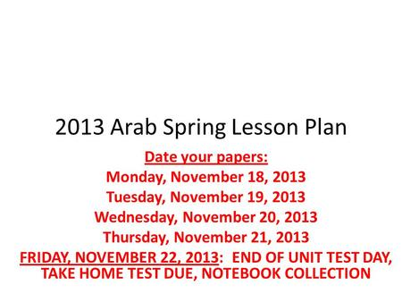 2013 Arab Spring Lesson Plan Date your papers: Monday, November 18, 2013 Tuesday, November 19, 2013 Wednesday, November 20, 2013 Thursday, November 21,