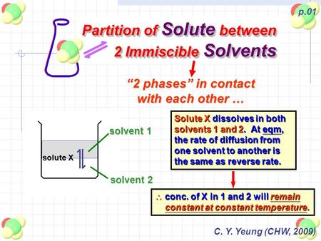 "C. Y. Yeung (CHW, 2009) p.01 Partition of Solute between 2 Immiscible Solvents ""2 phases"" in contact with each other … solvent 1 solvent 2 solute X Solute."