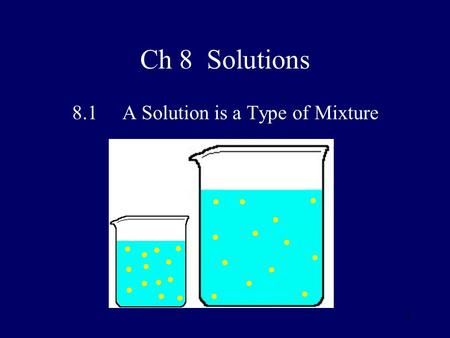 11 Ch 8 Solutions 8.1 A Solution is a Type of Mixture.