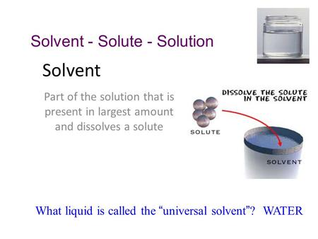 Solvent Solvent - Solute - Solution