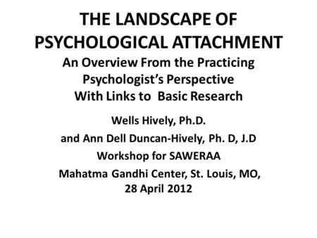 THE LANDSCAPE OF PSYCHOLOGICAL ATTACHMENT An Overview From the Practicing Psychologist's Perspective With Links to Basic Research Wells Hively, Ph.D. and.