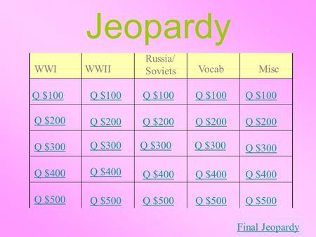 Jeopardy WWIWWII Russia/ Soviets Vocab Misc Q $100 Q $200 Q $300 Q $400 Q $500 Q $100 Q $200 Q $300 Q $400 Q $500 Final Jeopardy.