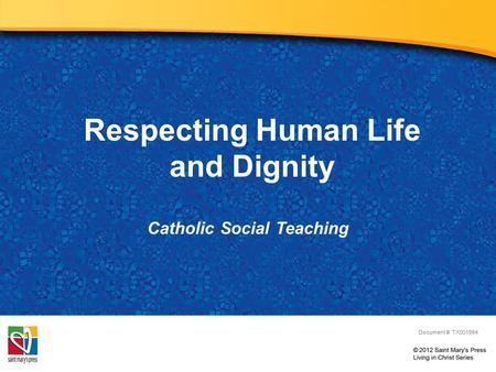 Respecting Human Life and Dignity Catholic Social Teaching Document #: TX001994.