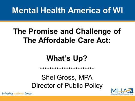 Mental Health America of WI The Promise and Challenge of The Affordable Care Act: What's Up? *********************** Shel Gross, MPA Director of Public.