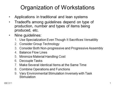 Organization of Workstations