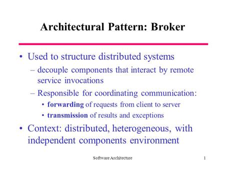Architectural Pattern: Broker