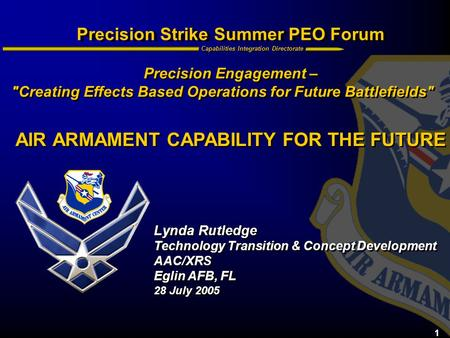 AIR ARMAMENT CAPABILITY FOR THE FUTURE