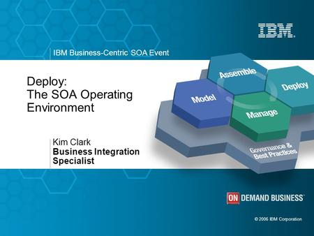 © 2006 IBM Corporation IBM Business-Centric SOA Event Deploy: The SOA Operating Environment Kim Clark Business Integration Specialist.