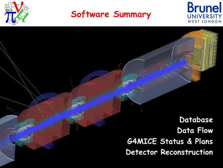 Software Summary Database Data Flow G4MICE Status & Plans Detector Reconstruction 1M.Ellis - CM24 - 3rd June 2009.