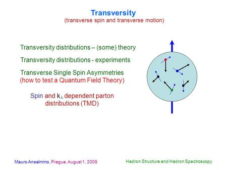 Mauro Anselmino, Prague, August 1, 2005 Hadron Structure and Hadron Spectroscopy Transversity (transverse spin and transverse motion) Transversity distributions.