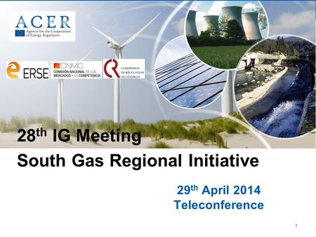1 29 th April 2014 Teleconference 28 th IG Meeting South Gas Regional Initiative.