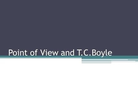 Point of View and T.C.Boyle