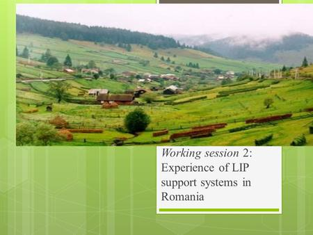 Working session 2: Experience of LIP support systems in Romania.