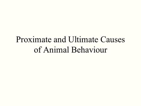 Proximate and Ultimate Causes of Animal Behaviour.