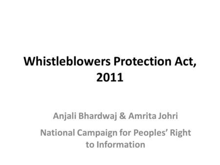 whistle blowers protection act 2011