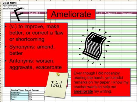 Ameliorate (v.) to improve, make better, or correct a flaw or shortcoming Synonyms: amend, better Antonyms: worsen, aggravate, exacerbate Even though I.