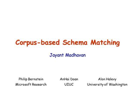Corpus-based Schema Matching Jayant Madhavan Philip Bernstein AnHai Doan Alon Halevy Microsoft Research UIUC University of Washington.
