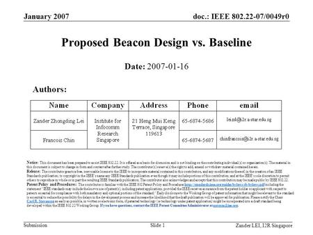 Doc.: IEEE 802.22-07/0049r0 Submission Zander LEI, I2R Singapore January 2007 Slide 1 Proposed Beacon Design vs. Baseline Date: 2007-01-16 Authors: Notice: