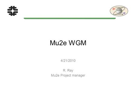 Mu2e WGM 4/21/2010 R. Ray Mu2e Project manager. Project Team We have a L2 manager for the tracker!  Aseet Mukherjee has assumed this role  Experience.