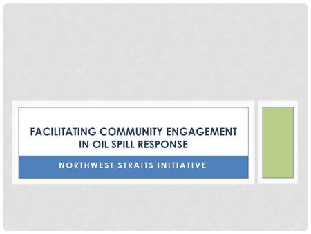 NORTHWEST STRAITS INITIATIVE FACILITATING COMMUNITY ENGAGEMENT IN OIL SPILL RESPONSE.