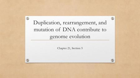 Duplication, rearrangement, and mutation of DNA contribute to genome evolution Chapter 21, Section 5.