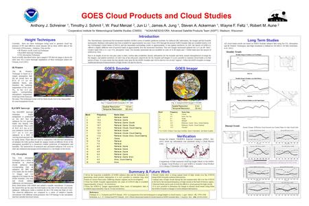 GOES Cloud Products and Cloud Studies Height Techniques Introduction GOES Sounder Currently there are three techniques being used to generate cloud top.