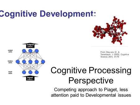 Cognitive Development: Cognitive Processing Perspective Competing approach to Piaget, less attention paid to Developmental issues From: Steyvers, M., &