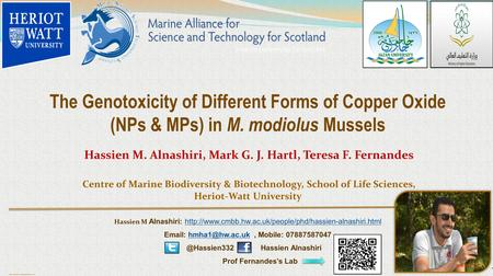 Poster template by ResearchPosters.co.za The Genotoxicity of Different Forms of Copper Oxide (NPs & MPs) in M. modiolus Mussels Hassien M. Alnashiri, Mark.