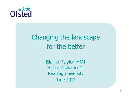 1 Changing the landscape for the better Elaine Taylor HMI National Adviser for ML Reading University June 2012.