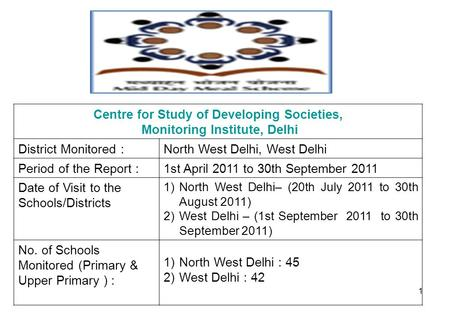 1 Centre for Study of Developing Societies, Monitoring Institute, Delhi District Monitored :North West Delhi, West Delhi Period of the Report :1st April.