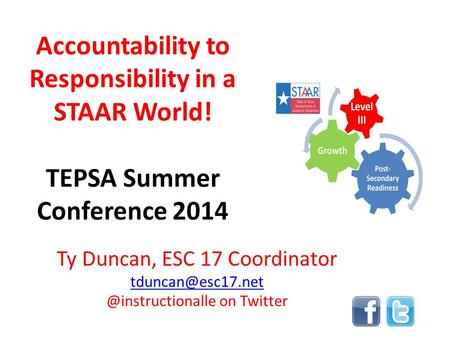 Accountability to Responsibility in a STAAR World! TEPSA Summer Conference 2014 Ty Duncan, ESC 17 on Twitter.