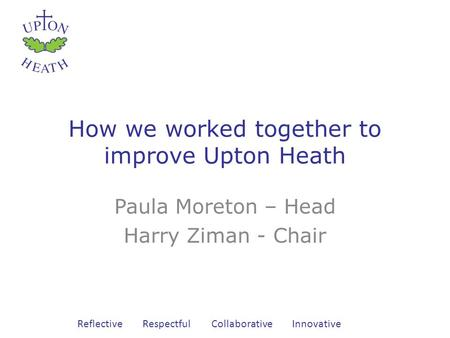 Reflective Respectful Collaborative Innovative How we worked together to improve Upton Heath Paula Moreton – Head Harry Ziman - Chair.