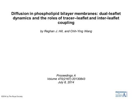 Diffusion in phospholipid bilayer membranes: dual-leaflet dynamics and the roles of tracer–leaflet and inter-leaflet coupling by Reghan J. Hill, and Chih-Ying.