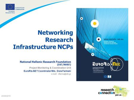 1 23/05/2015 Networking Research Infrastructure NCPs National Hellenic Research Foundation (EKT/NHRF) Project Monitoring & Coordination Unit EuroRIs-NET.