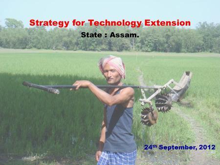 Strategy for Technology Extension State : Assam. 24 th September, 2012.