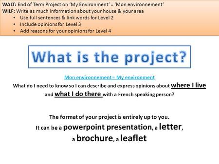 The format of your project is entirely up to you. It can be a powerpoint presentation, a letter, a brochure, a leaflet Mon environnement = My environment.