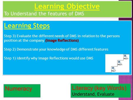 Numeracy Literacy (key Words) Understand, Evaluate Learning Objective To Understand the features of DMS Learning Objective To Understand the features of.