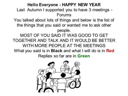 Hello Everyone - HAPPY NEW YEAR Last Autumn I supported you to have 3 meetings - Forums You talked about lots of things and below is the list of the things.