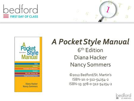A Pocket Style Manual 6 th Edition Diana Hacker Nancy Sommers ©2012 Bedford/St. Martin's ISBN-10: 0-312-54254-2 ISBN-13: 978-0-312-54254-2.