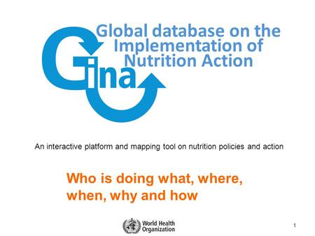 Global database on the Implementation of Nutrition Action 1 Who is doing what, where, when, why and how An interactive platform and mapping tool on nutrition.